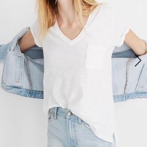 Madewell Whisper Cotton V-Neck Pocket Tee XXS